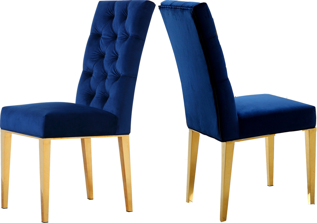 Plush Chairs Details About Set Of 2 Dorian Plush Navy Blue Button Tufted Velvet Dining Chair W Tapered Gol