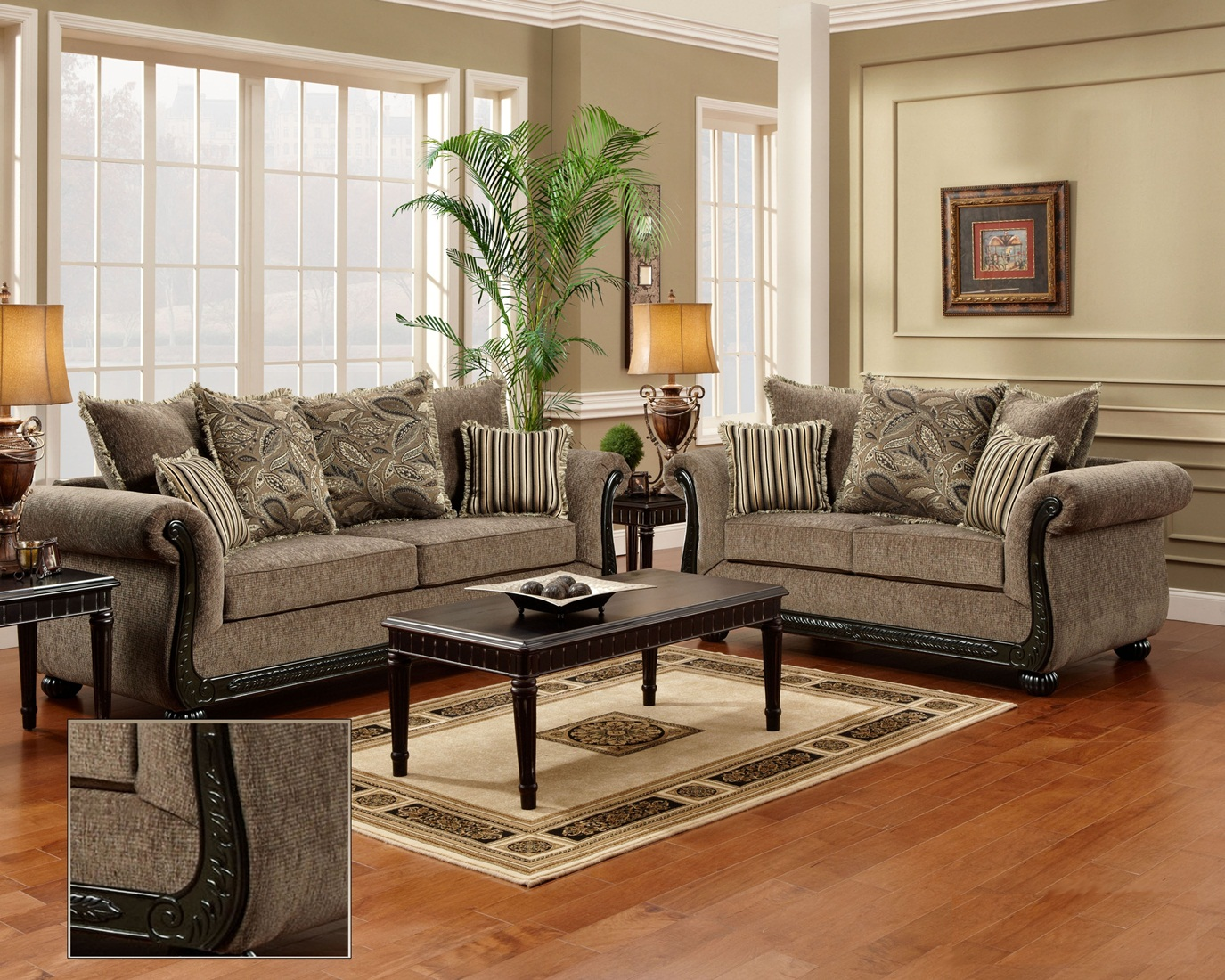 Lounge Couch Dream Java Chenille Sofa & Love Seat Living Room Furniture ...