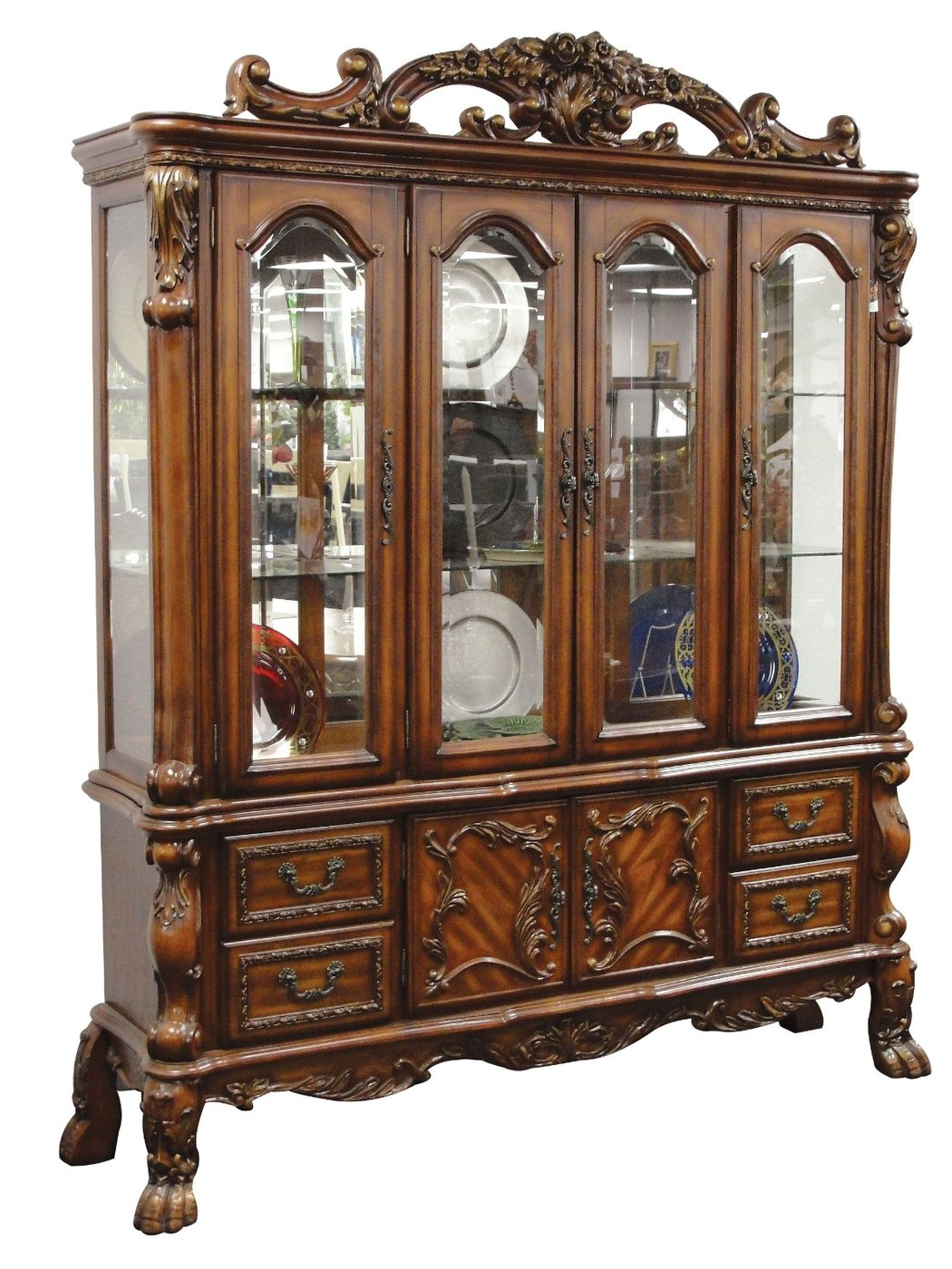Dresden Carved Wood Antique Style Lighted China Cabinet In