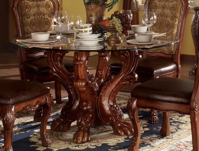 Dresden Formal Carved Wood 54 Round Glass Top Dining