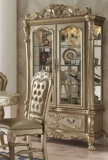 2 chairs and table set living room stackable resin canada dresden luxury ornate formal curio cabinet in antique gold patina