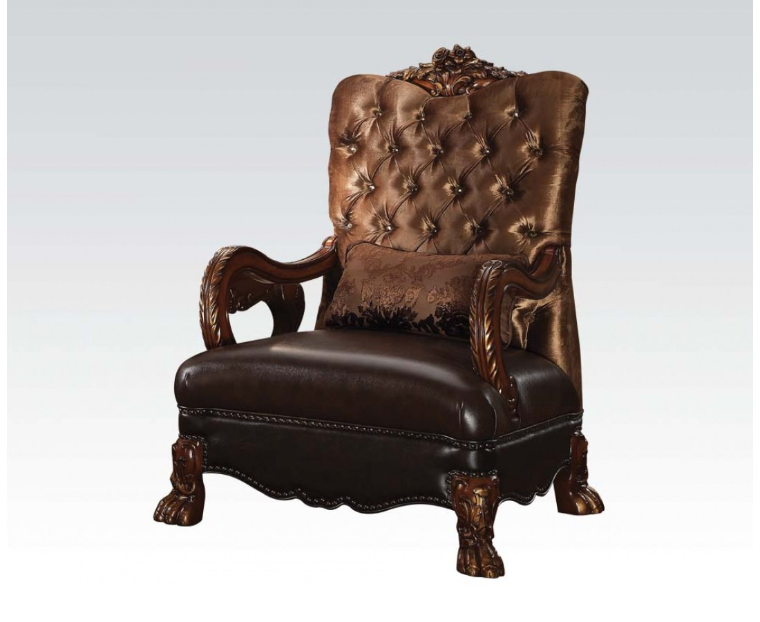 Gold Velvet Chair Dresden Victorian Tufted Chair In Gold Velvet And Cherry
