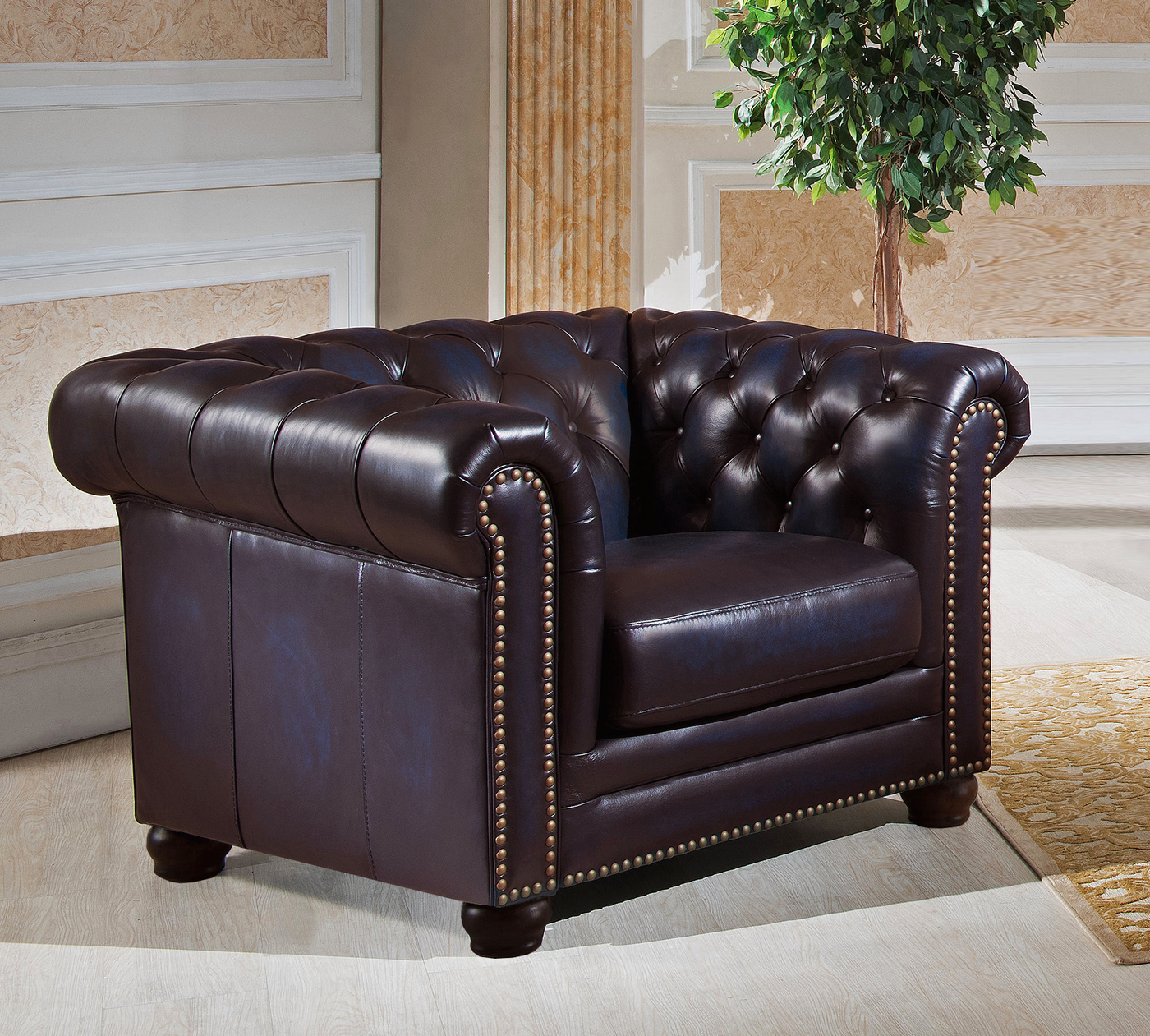 Leather Chesterfield Chair Dynasty 100 Genuine Leather Chesterfield Sofa And Two