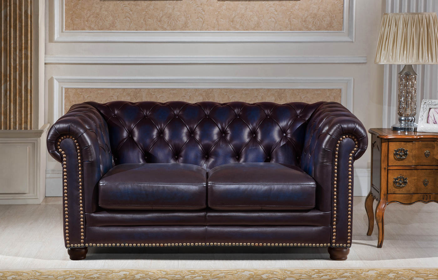 navy leather chesterfield sofa reception sofas dynasty 100 genuine 3 pc set in