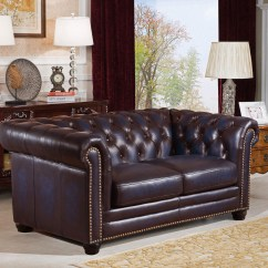Navy Leather Chesterfield Sofa Cream Cushions Dynasty 100 Genuine 3 Pc Set In