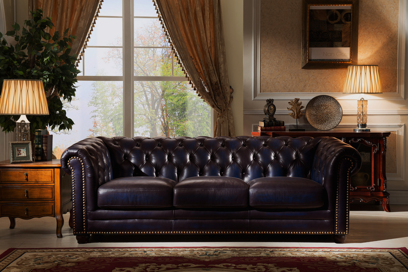 navy leather chesterfield sofa wesley hall 1904 dynasty 100 genuine 3 pc set in