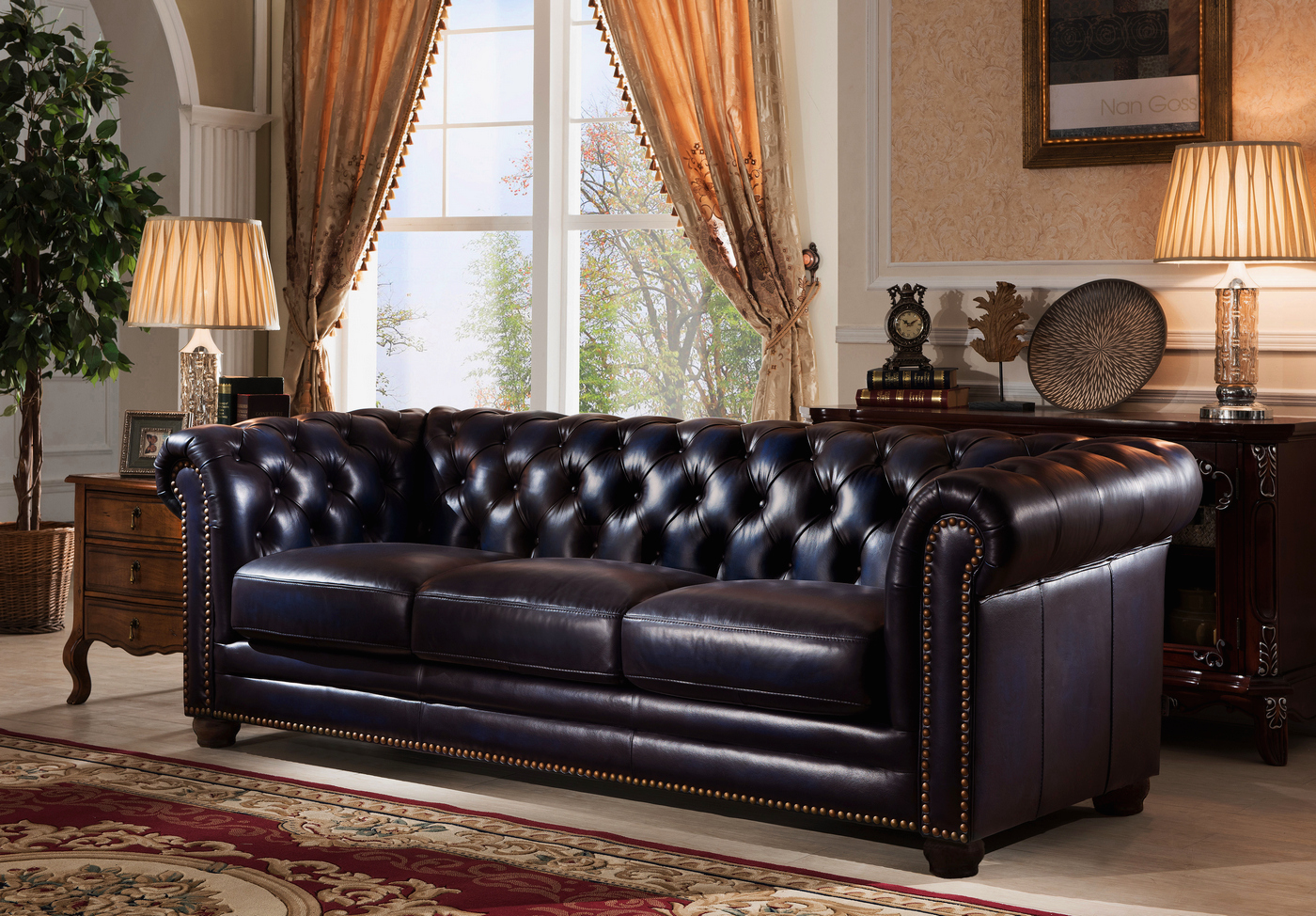 navy leather chesterfield sofa design set dynasty 100 genuine 3 pc in