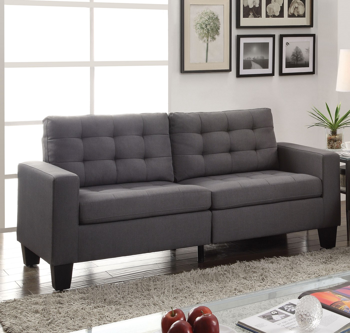 gray linen tufted sofa table black wood ealdun contemporary button and loveseat in