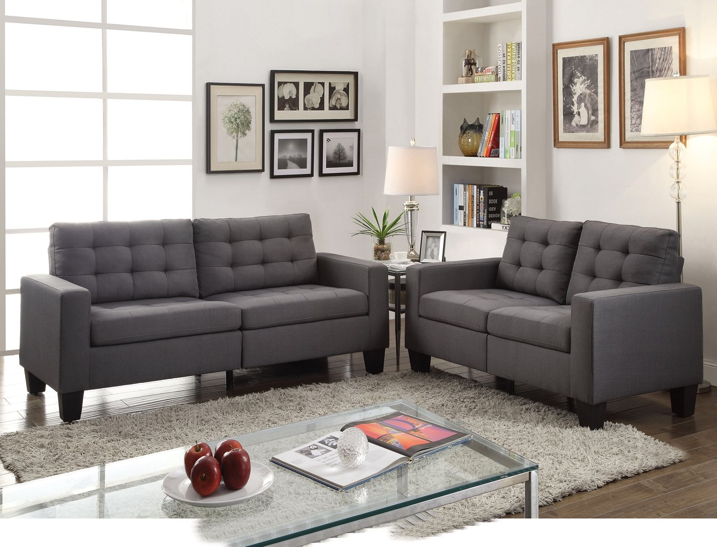 gray linen tufted sofa ashley furniture sleepers ealdun contemporary button and loveseat in