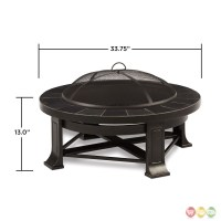 """Edwards Outdoor Wood-burning 34"""" Round Fire Pit With Gray Tile"""