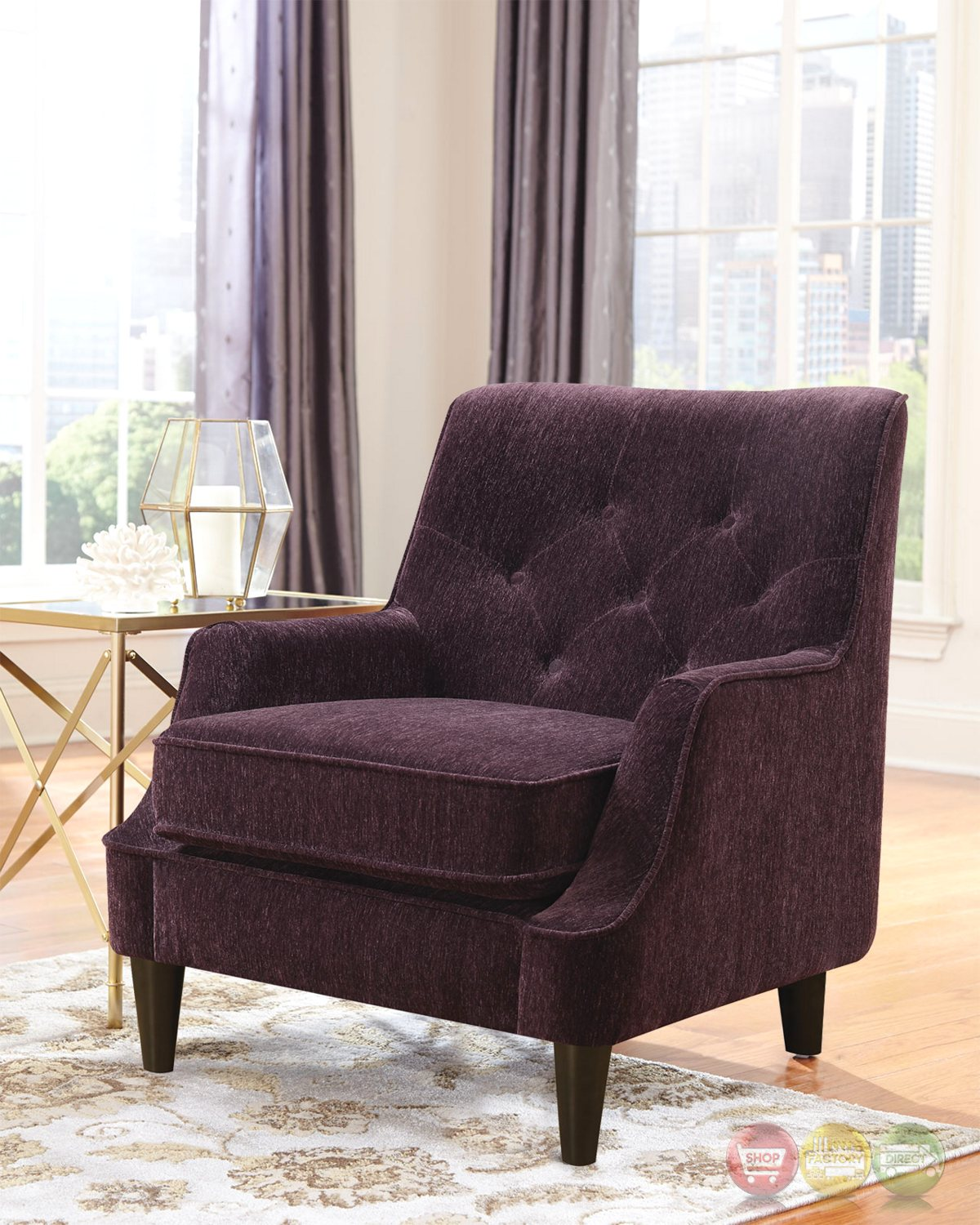 purple accent chair two seater chairs uk eggplant button tufted with welted trim