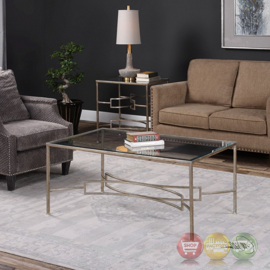 Eilinora Coffee Table With Antique Silver Iron Frame And
