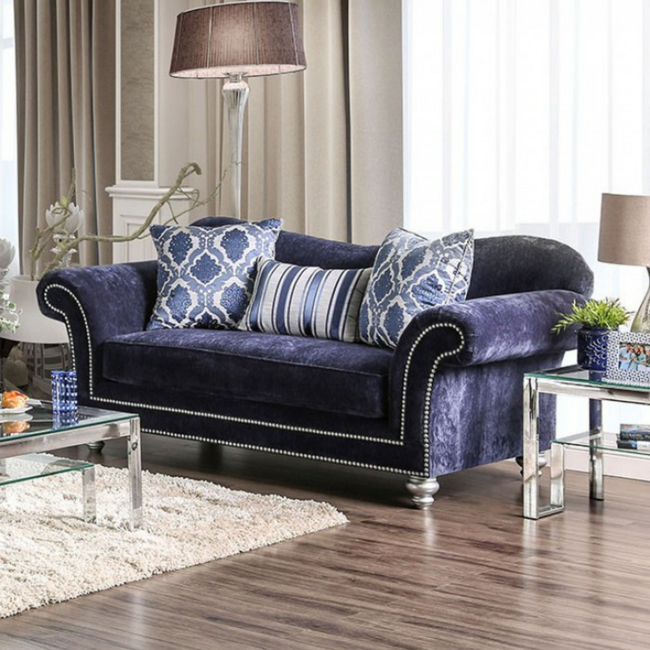 rolled arm sofa with nailhead trim cheapest leather corner sofas uk eleanor transitional navy blue microfiber set w