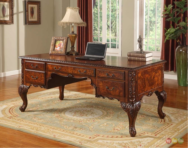 Elegant Traditional Cherry Wood Home Office Desk w