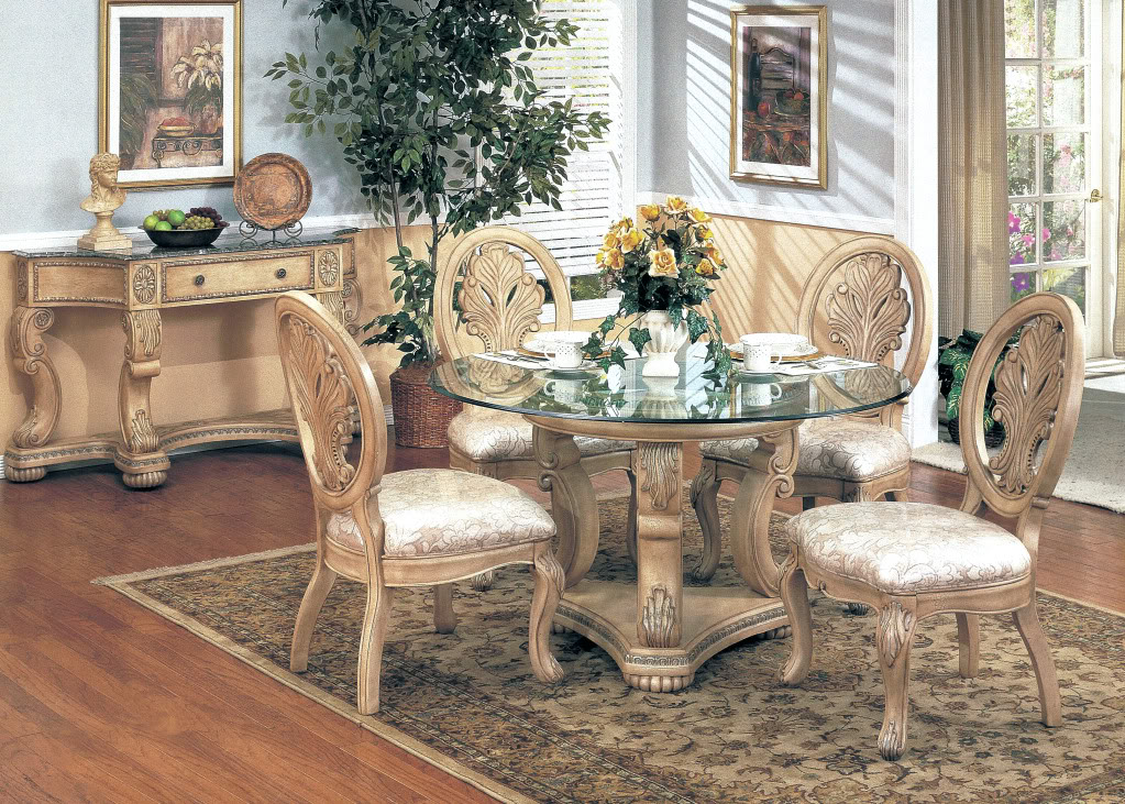 Emily Formal Dining Furniture Round Glass Top Table