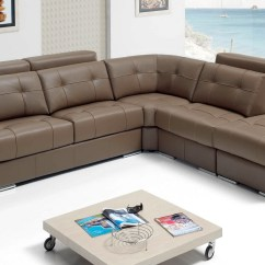 Emma Tufted Sofa Round Sectional Sleeper In Beige Top Grain Leather