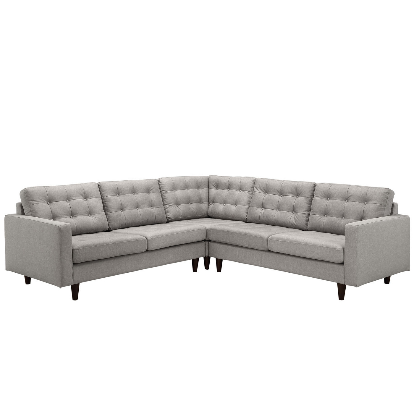 mid century modern light gray sofa avery skladana z materacem empress 3 piece button tufted sectional