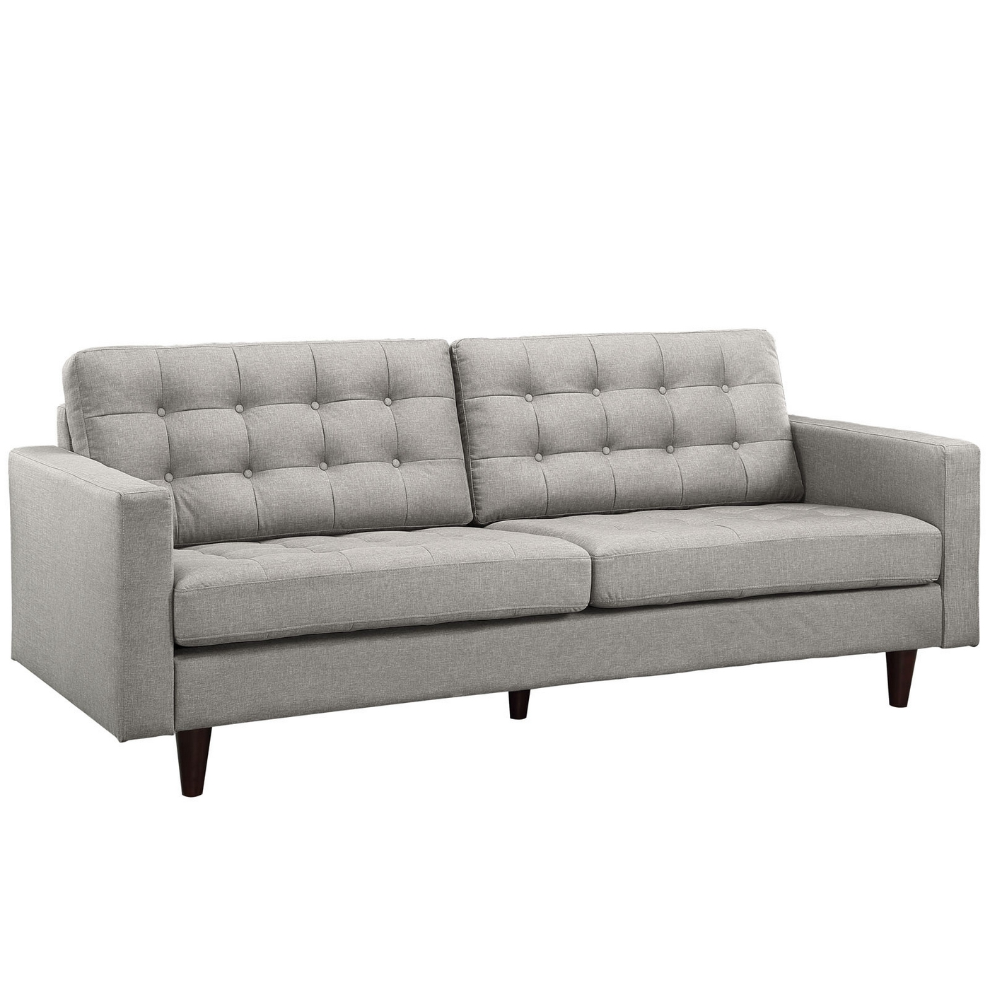 mid century modern light gray sofa avery cheap slipcovers for sofas empress contemporary button tufted