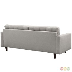 Mid Century Modern Light Gray Sofa Avery Power Reclining Leather Sofas And Loveseats Empress Contemporary Button Tufted