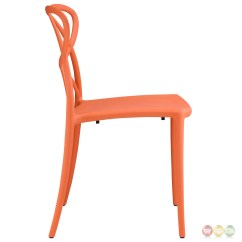Orange Stackable Chairs Miniature Electric Chair Enact Modern Stylish Plastic Dining Side