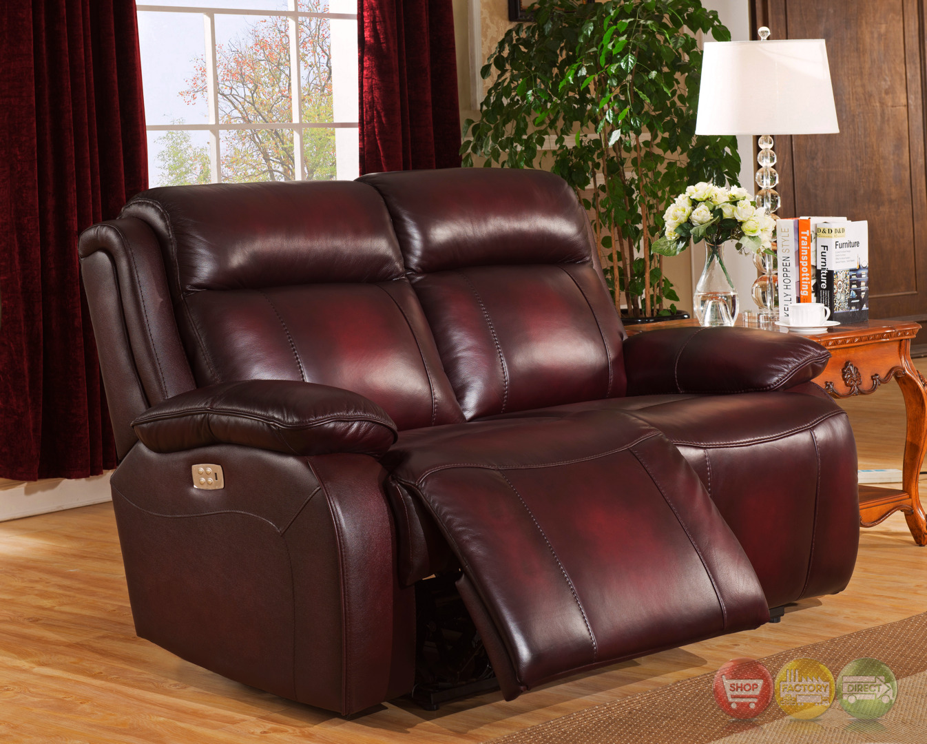 genuine leather power reclining sofa craigslist mn faraday recline loveseat in deep red