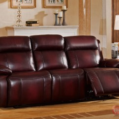 Genuine Leather Power Reclining Sofa Living Rooms With Green Sofas Faraday Recline In Deep Red