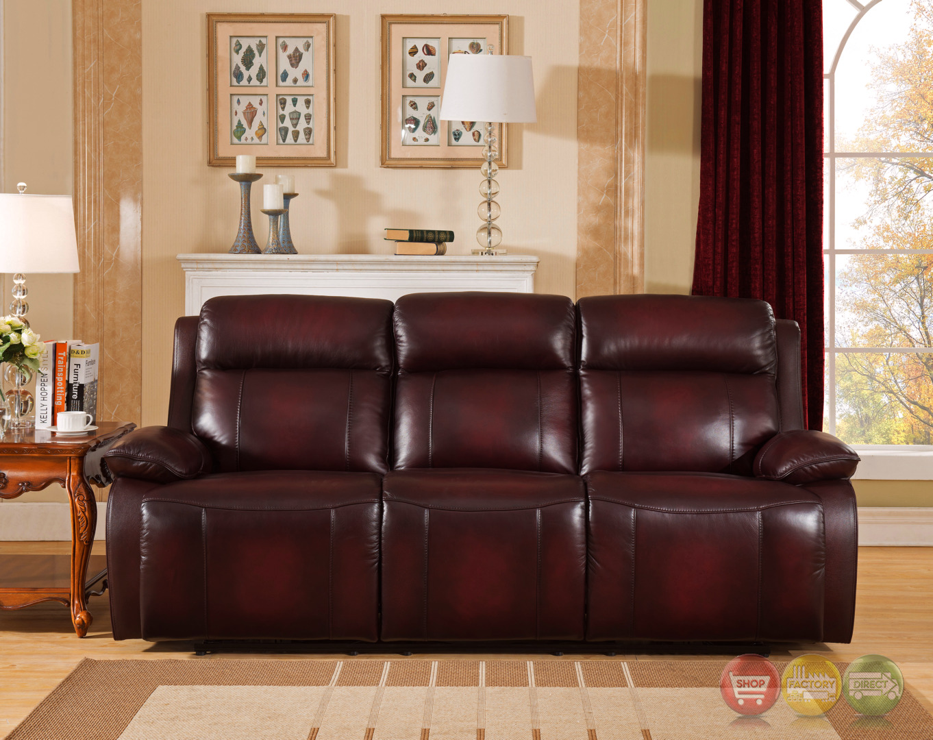 genuine leather sofa sets trays table faraday power recline 3pc set in deep red real