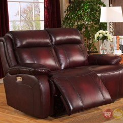 Genuine Leather Sofa Sets Bed Mattress Cover Queen Faraday Power Recline 3pc Set In Deep Red Real