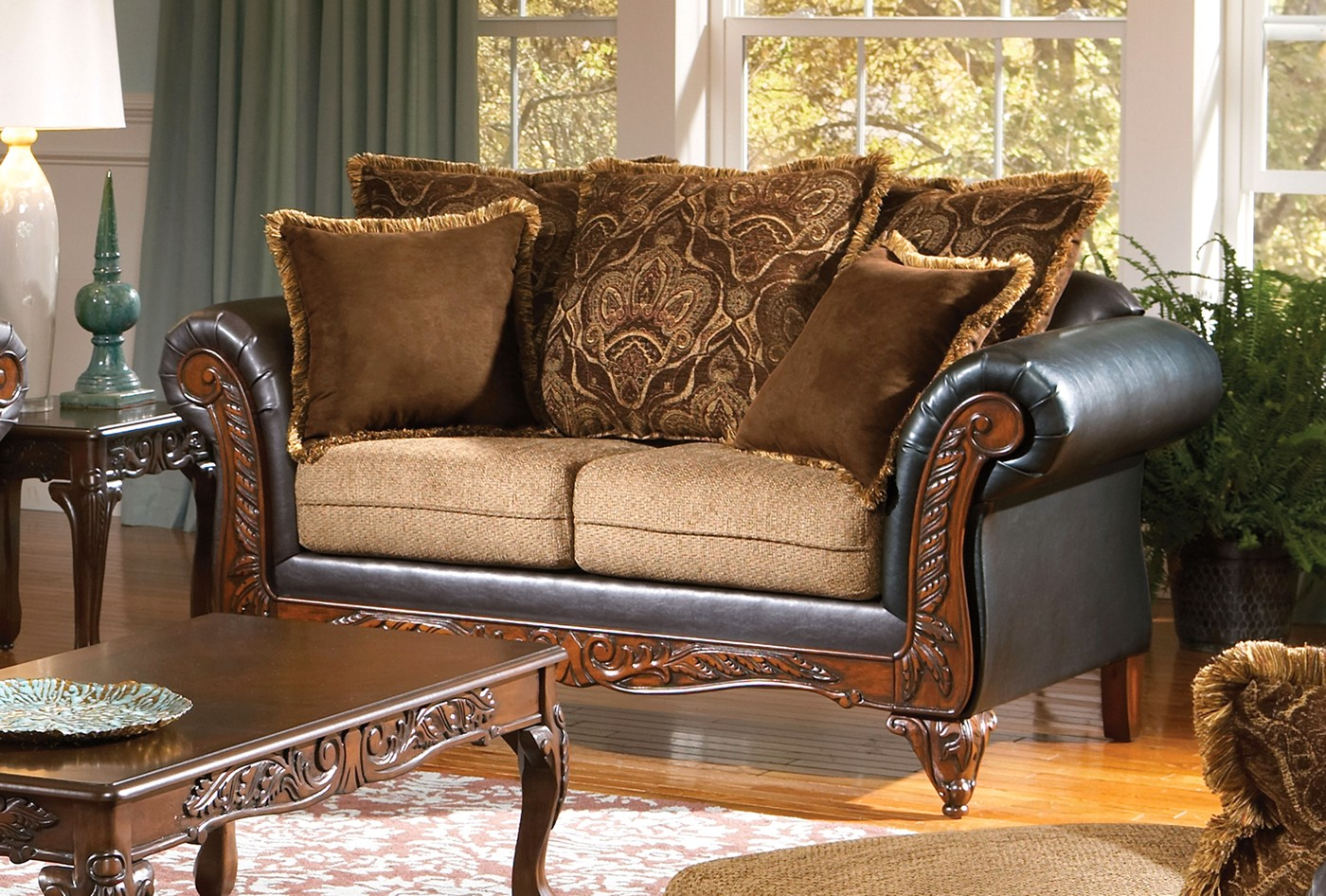 Farleigh French Traditional Brown Sofa & Loveseat W