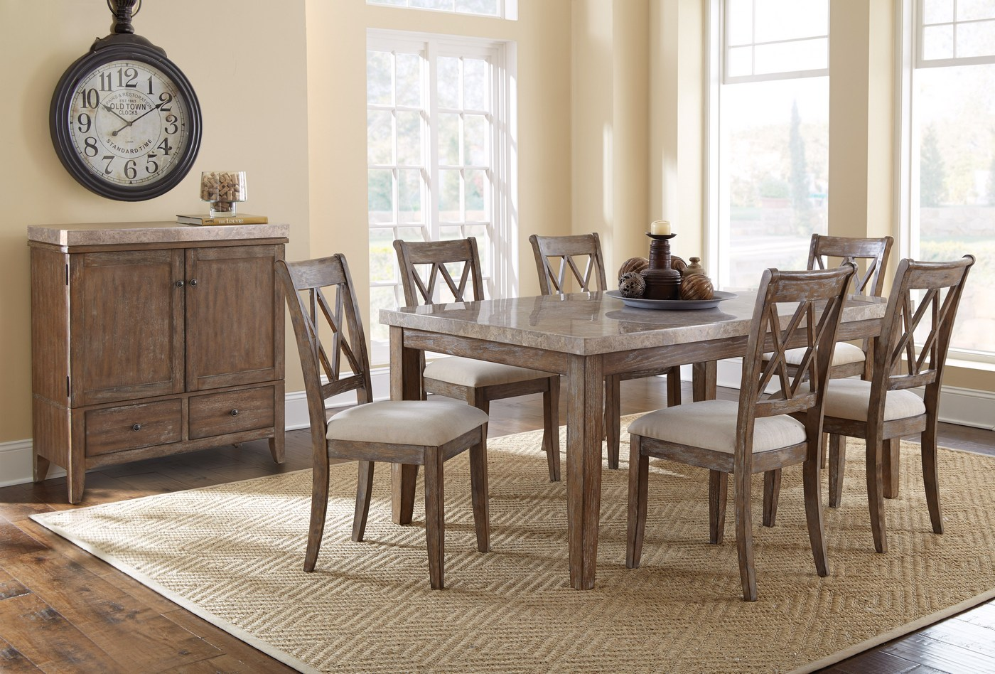 Franco Rustic Marble Top Dining Table With Grey Distressed
