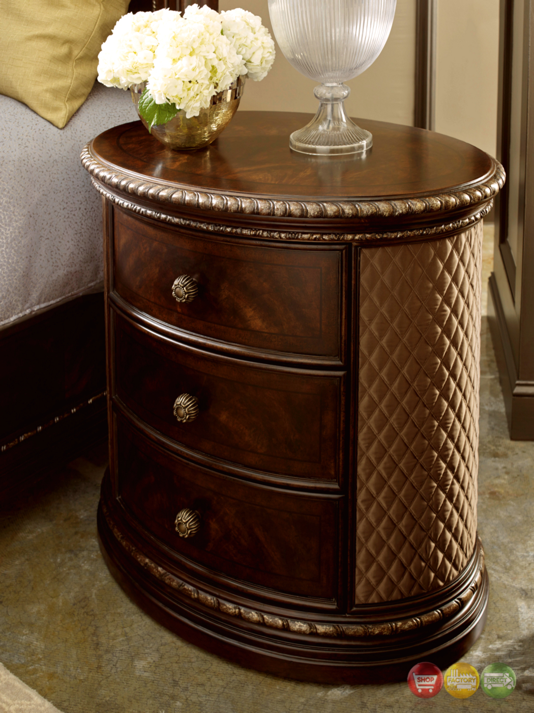 Gables 3Drawer Antique Dark Cherry Oval Nightstand with Quilted Panels