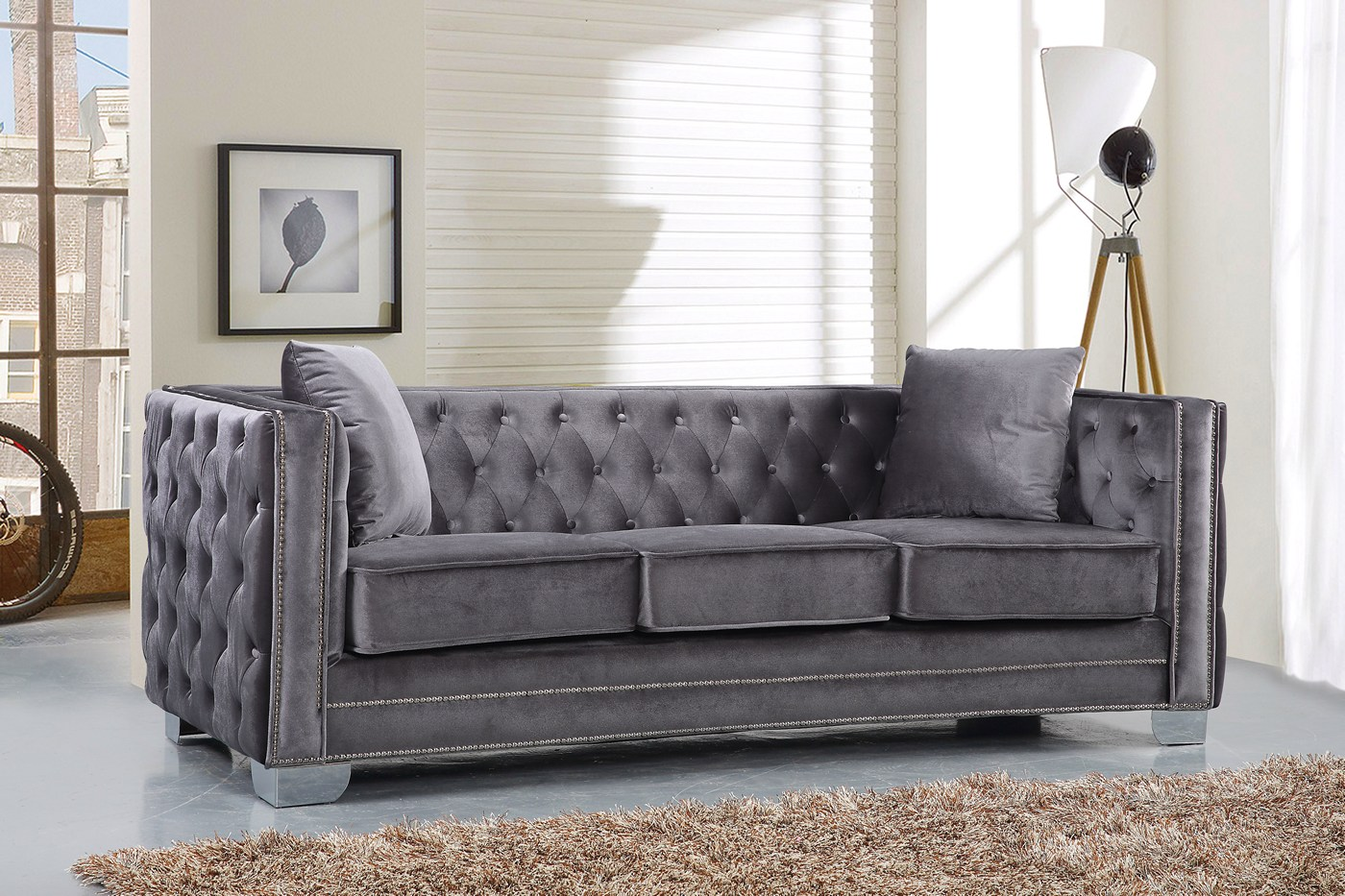 velvet grey tufted sofa muuto sofabord gianni modern button and loveseat w