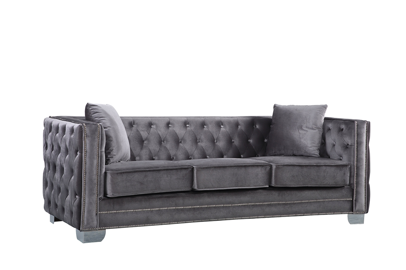 grey sofa with silver nailheads chateau d ax leather gianni modern button tufted velvet nailhead