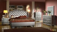 Glamorous Silver Button Tufted Wing Back Bed Faux Croc ...