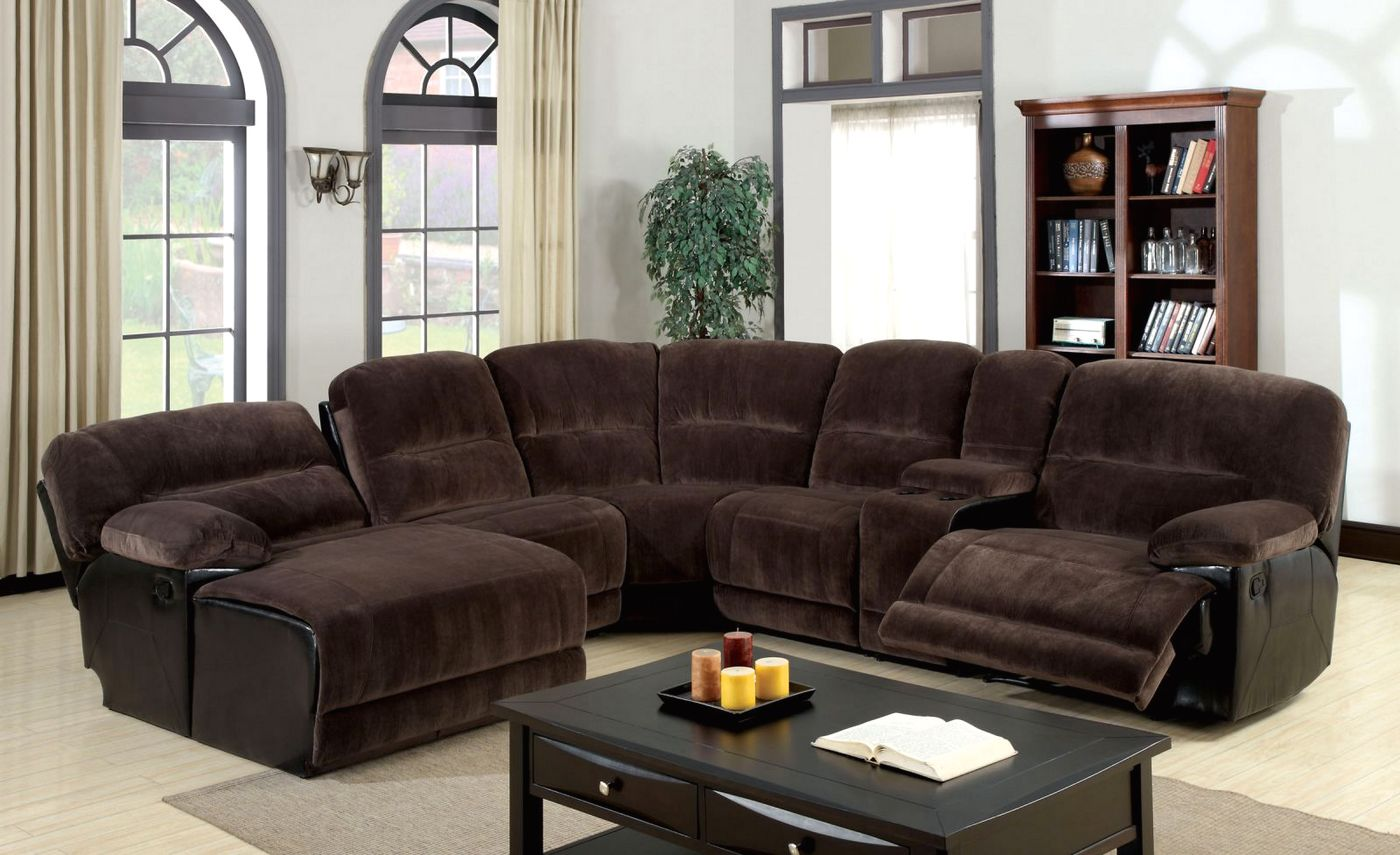 Glasgow Contemporary Dark Brown Sectional Sofa Set with