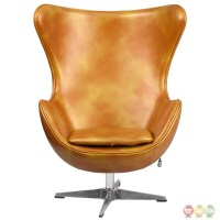 Gold Leather Egg Chair With Tilt