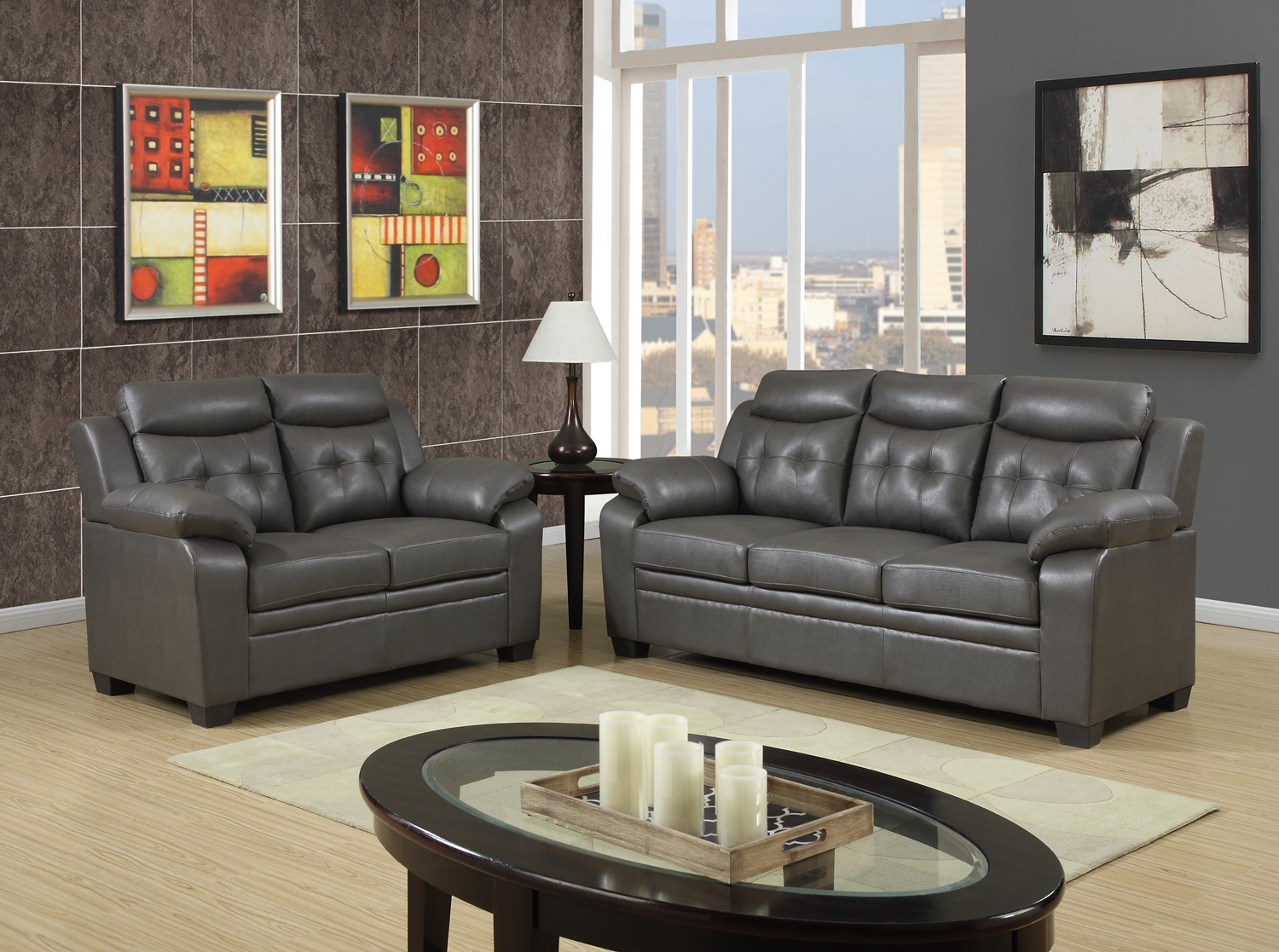 Grey Apartment Size Casual Contemporary Bonded Leather Sofa Set