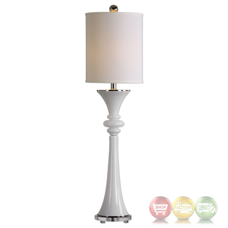 Gwyn Gloss White Tall Slim Buffet Lamp With Crystal Foot