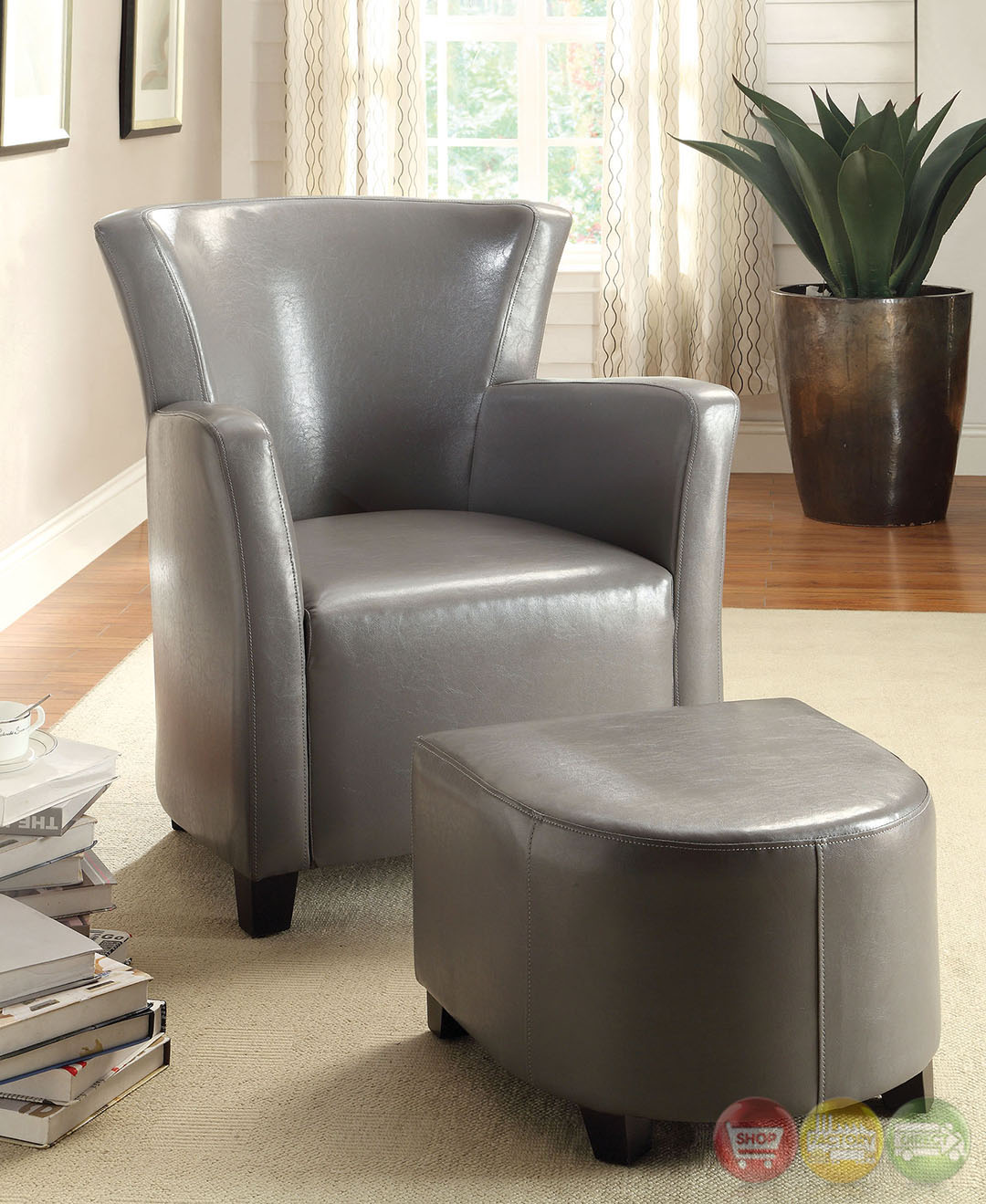 gray chair and a half brown jordan chairs moon bay leatherette with ottoman cm ac6710 gy