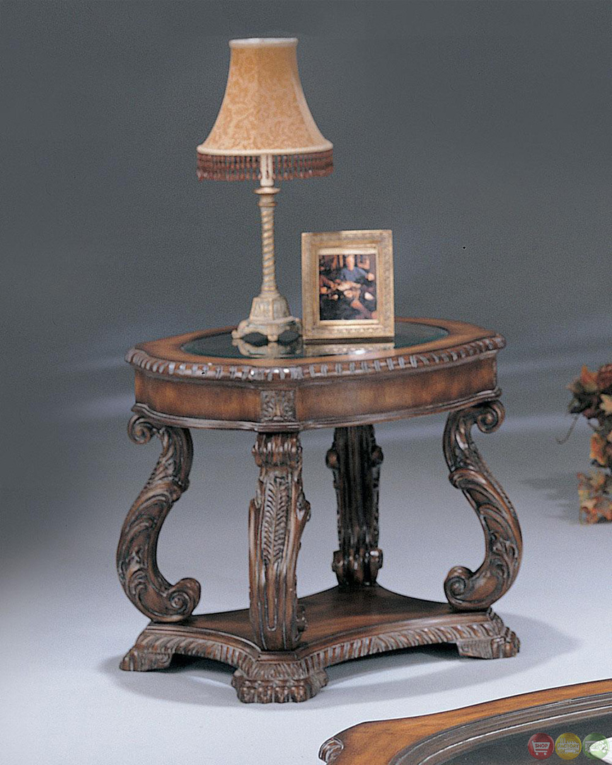Hand Carved Traditional Brown 3 Piece Living Room Table Set