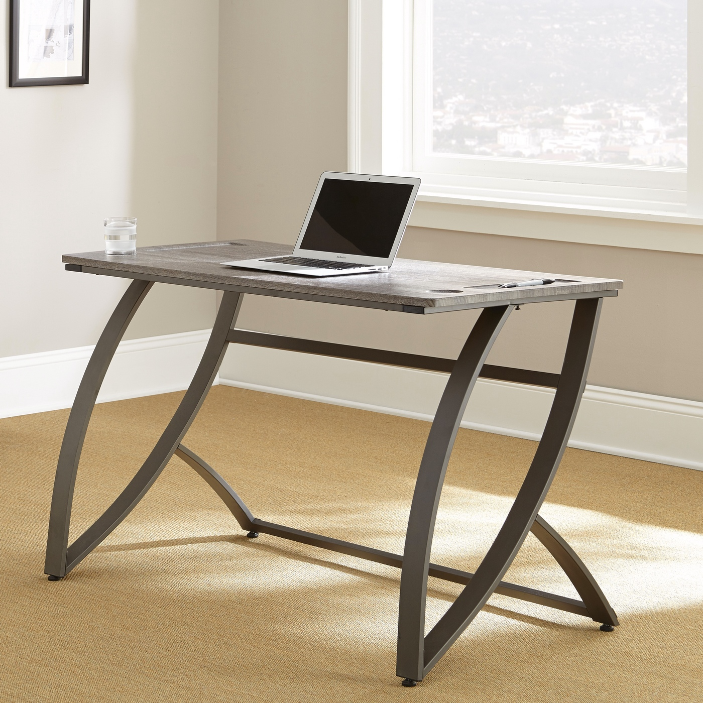 Hatfield Ultrasleek Minimalist 54quot Desk In Driftwood Grey