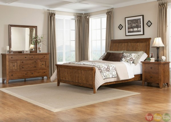 oak sleigh bedroom sets Hearthstone Traditional Rustic Oak Sleigh Bedroom Set