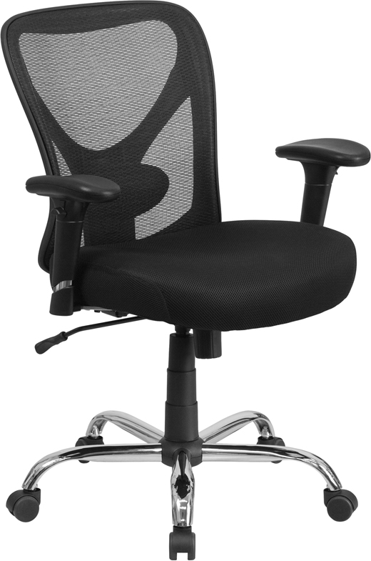 back support for office chairs big w rectangular chair leg glides hercules & tall black mesh swivel task w/ adjustable arms