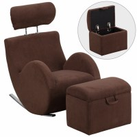 Hercules Series Brown Fabric Rocking Chair With Storage ...