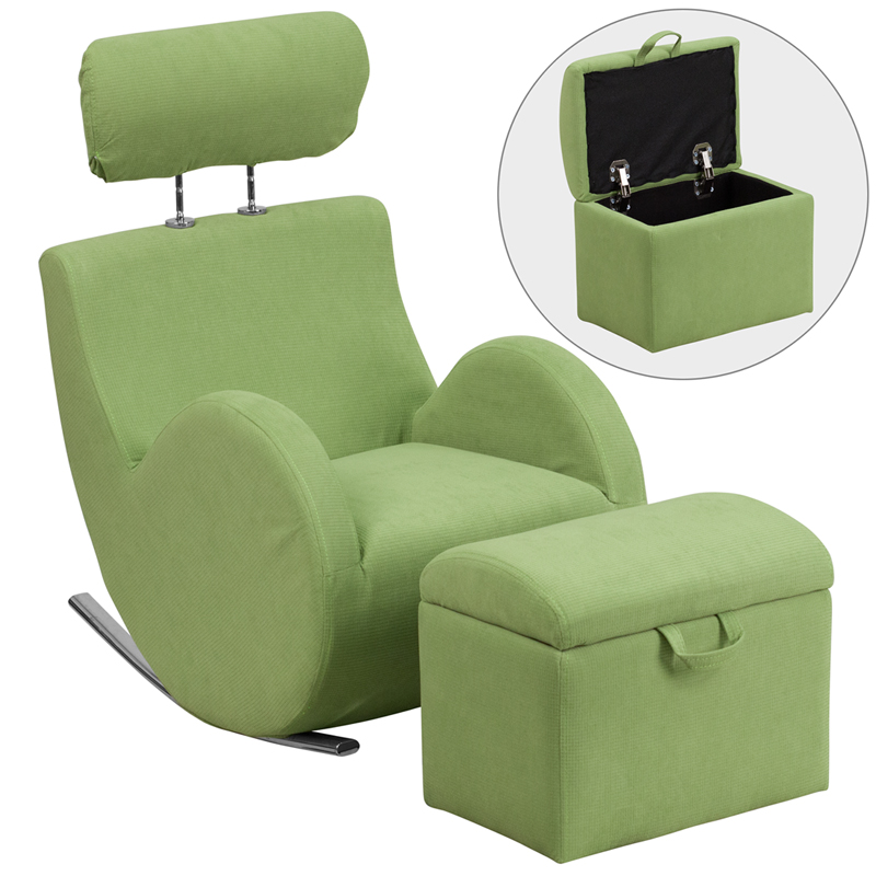 Hercules Series Green Fabric Rocking Chair With Storage