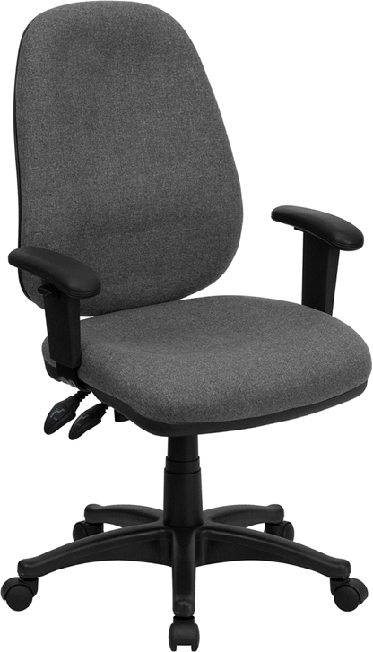 modway office chair desk red high back gray fabric ergonomic computer with height adjustable arms bt-661-gr-gg