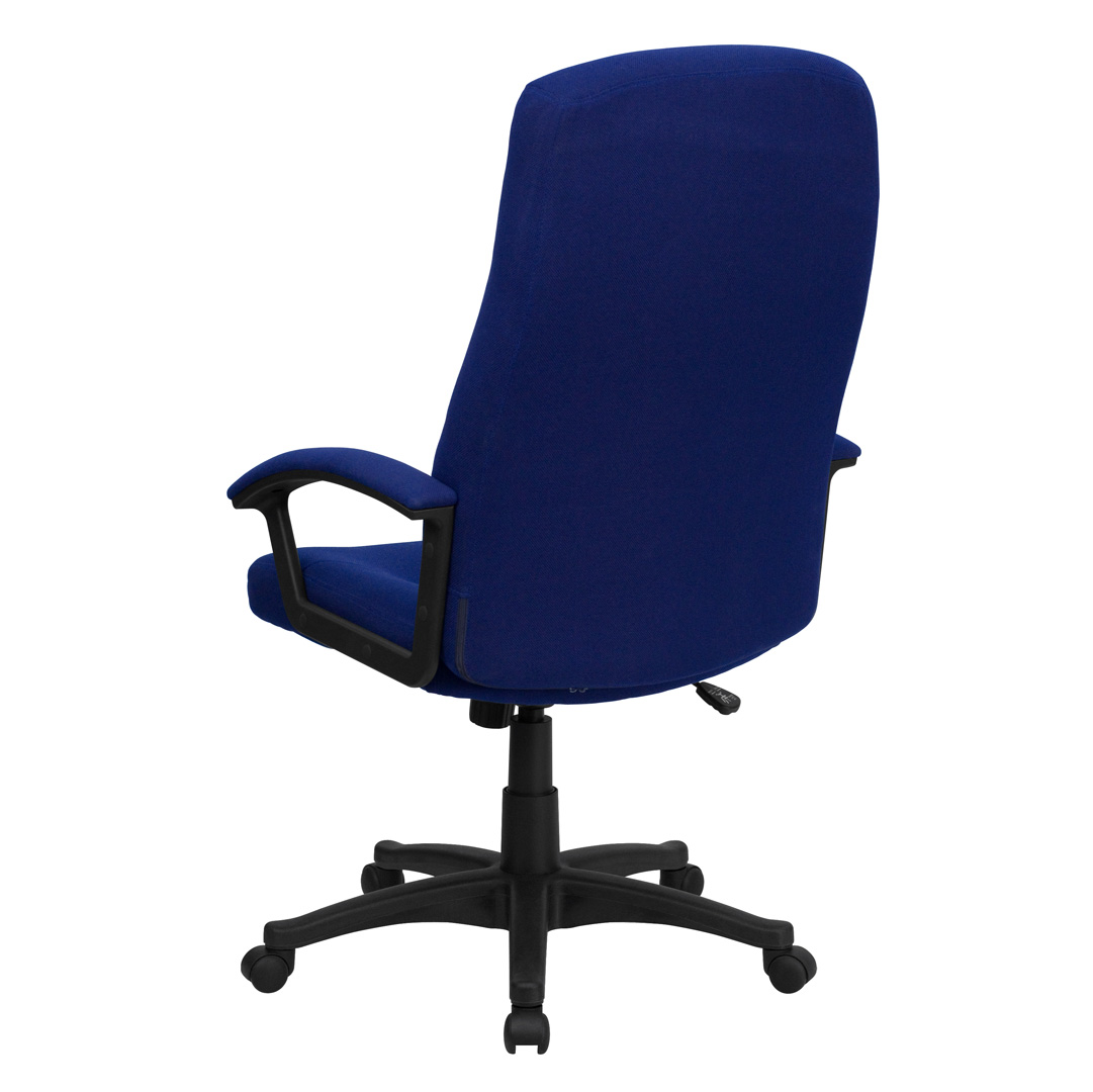 navy office chair folding chairs costco high back blue fabric executive swivel