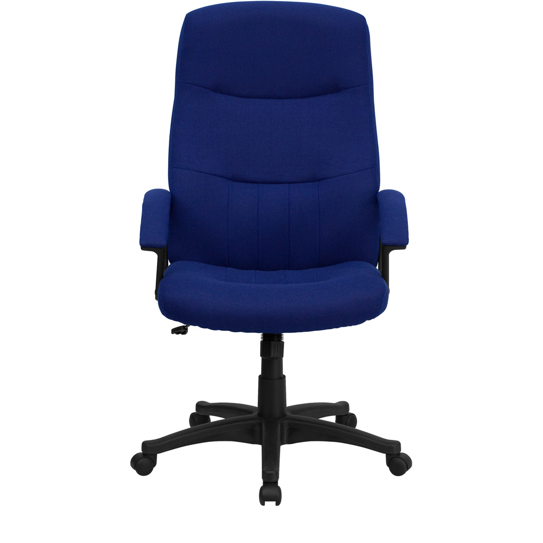 Cloth Office Chairs High Back Navy Blue Fabric Executive Swivel Office Chair
