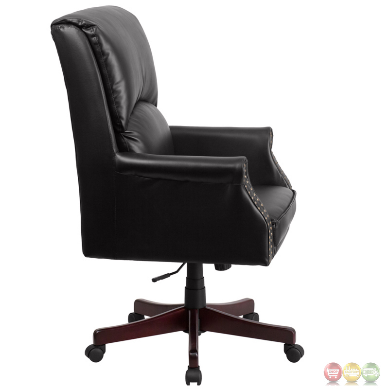 office chair support for upper back pain antique barber chairs high pillow black leather executive swivel