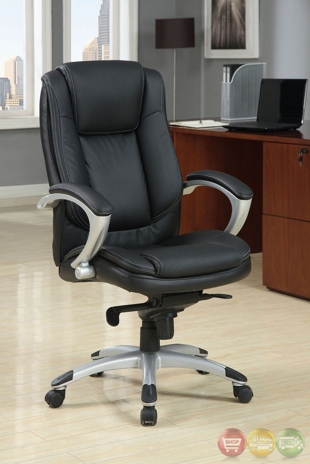 padded office chair hitachi magic wand hillsborough black and silver with